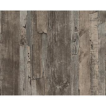 A.S. Creation AS Creation Distressed Driftwood Wood Panel Faux Effect Embossed Wallpaper