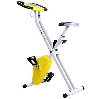HOMCOM Folding Exercise Bike LCD Monitor Home Gym Exercise Adjustable Tension Padded Seat Heart Rate Monitor Pulse Sensor Yellow