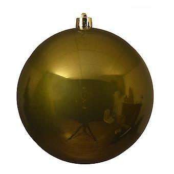 Single Moss Green 14cm Shatterproof Christmas Tree Bauble Decoration