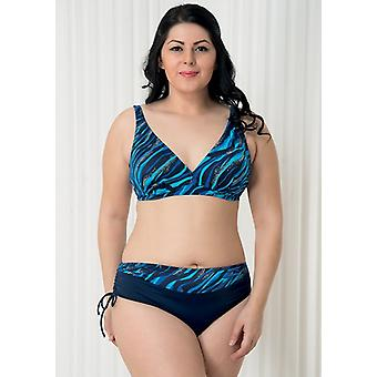 Aqua Perla  Womens Bahia Blue Bikini Set Plus Size