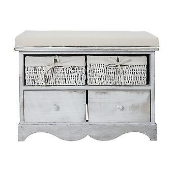 Rebecca Furniture Bench Bench 2 Wooden Drawers 2 White Wicker Baskets 46x60x33