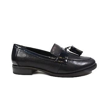 Tamaris 24200 Navy Leder Damen Slip auf Loafer Schuhe
