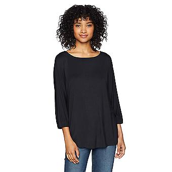 Daily Ritual Women's Jersey Bunch-Sleeve Top, Navy, Large