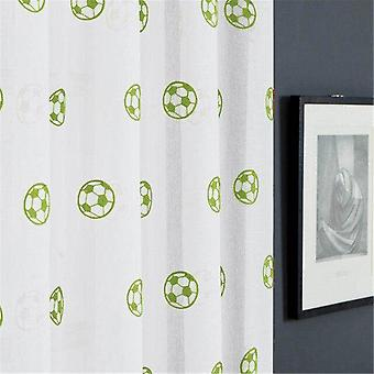 Football Pattern Embroidered Tulle Curtains For's Room