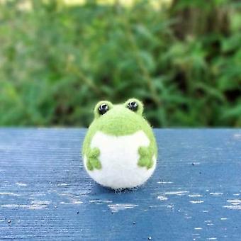 Lovely Frog Wool Needle Felt Toy - Diy Non Finished Felting Poked Kit