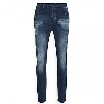 Kings Will Dream Oscar Carrot Skinny Stretch Blue Denim Rip & Repair Jeans