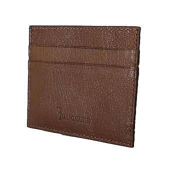 Brown leather cardholder w59323479