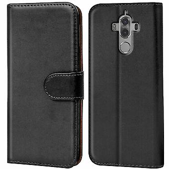Wallet Case Case Case voor Huawei Mate 9 Pro Leatherette Shiny Mobile Cover Zwart