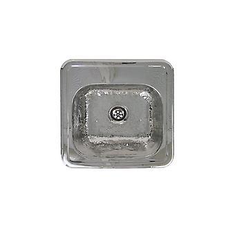Lavandino decorativo quadrato drop-in per l'intrattenimento / preparazione con ciotola di texture martellata e sporgenza con finitura a specchio - Acciaio inossidabile martellato