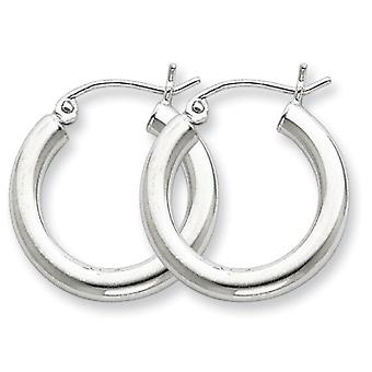 925 Sterling Silver Polished Hinged post Rhodium plated 3mm Round Hoop Earrings Jewelry Gifts for Women