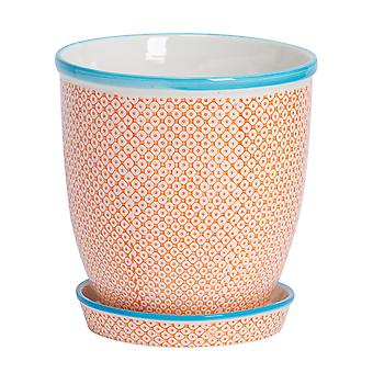 Nicola Spring Hand-Printed Plant Pot with Saucer - Porcelain Flower Pot and Drip Tray - Orange - 20 x 20.5cm