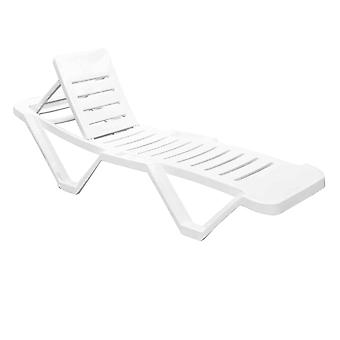 Resol Master Garden Sun Lounger Bed - Adjustable Reclining Outdoor Summer Furniture - White