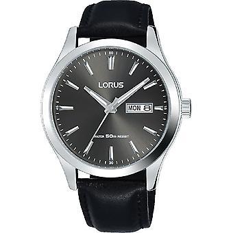 Lorus Mens Black Leather Strap Watch Edelstahl Case Grey Dial (RXN63DX9)