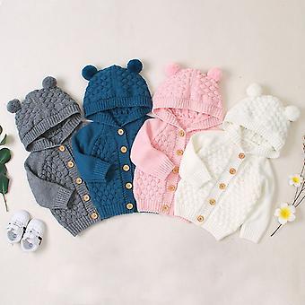 Detský sveter, zimné dieťa novorodenca sveter pre bundy s kapucňou, tlačidlo hore