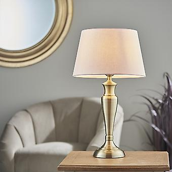 Endon Lighting Oslo & Evie - Table Lamp Antique Brass Plate & Pink Cotton 1 Light IP20 - E27