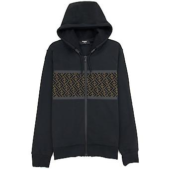 Fendi Mesh FF Logo Zip Up CollegePaita Musta