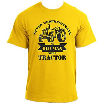 Never Underestimate An Old Man With A Tractor Funny Farmer T-shirt For Men