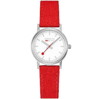 Mondaine Classic Quartz White Dial Red Textile Strap Ladies Watch A658.30323.17SBC