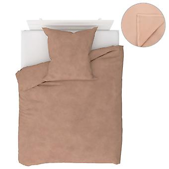 4-tlg. Bettwäsche-Set Fleece Beige 155×200/80×80 cm