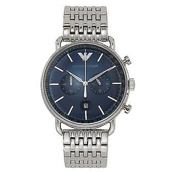 Armani Ar11238 Sininen & Hopea Ruostumaton Teräs Kronografi Men's Watch