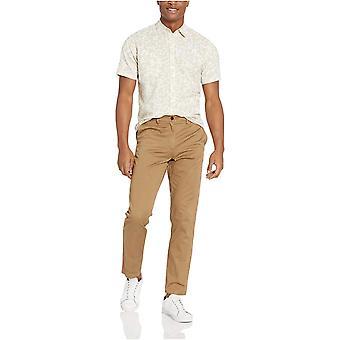 أساسيات الرجال & apos;ق العادية تناسب قصيرة الأكمام شريط الكتان قميص, البحرية, لوس انجليس...