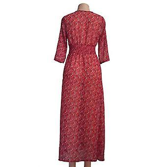 Femei de vară Șifon Maxi Dress Button Floral Print Sexy Deep V-gât Parte