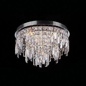 Klassinen huuhtelukattovalo kromi 10 valo kristallivarjostin G4