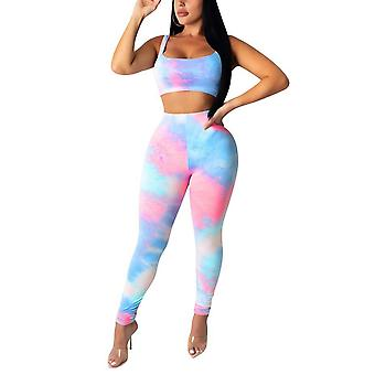 Newest Arrival Women Sports Outfits Fashion Casual Tie-dye Printed Crop Top And