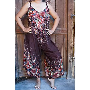 Rompers in tuta hippie Boho floreale marrone