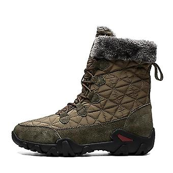 Winter, Warm Fur Plush Suede Leather & Waterproof Fabric Ankle Snow Boots, Male