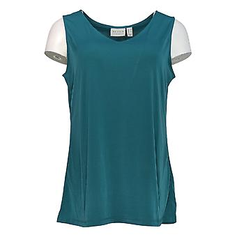 Susan Graver Women's Top Sleeveless Breezy V Neck Tank Green A384261