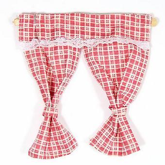 Dolls House Red Pink Gingham gordijnen vastgebonden terug op het spoor 1:12 Venster accessoire