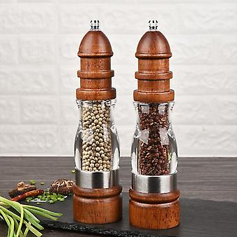 Adjustable Coarseness Ceramic Wooden Salt And Pepper Grinder Set