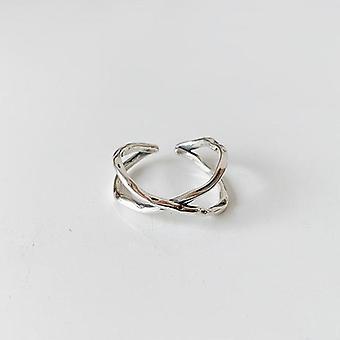 Sterling Silver Vintage Cross Winding Finger Ring