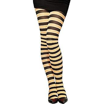 Fever women's opaque striped tights, orange and white, one size,5020570427163