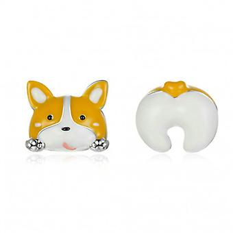 Silver Earrings Corgi Dog - 6936