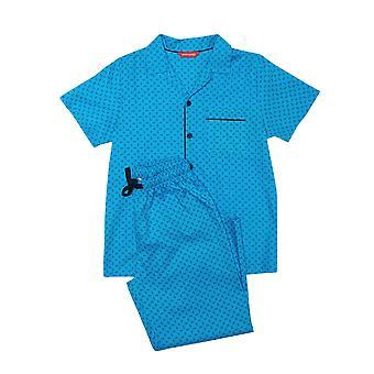 Minijammies Elliot 6538 Boy's Blue Paisley Cotton Pyjama Set
