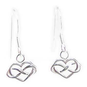 Infinity Hearts Kleine Sterling Silver Hook Oorbellen .925 X1 Pair