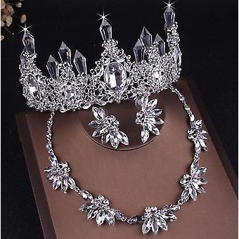 Благородные хрустальные свадебные ожерелья, серьги, корона, тиары Африканский бисер
