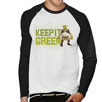 Shrek Keep It Green Men's Baseball Long Sleeved T-Shirt