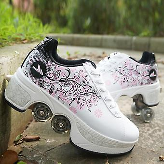 Unisex Four Wheels Rounds Of Running Shoes Roller Skates For Adults Kids