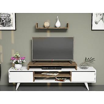 Mobile Tv Port Melis Kleur Wit, Walnoot in Melamine Spaanplaat, PVC, L160xP29.7xA38.6 cm, L60xP22xA9.8 cm