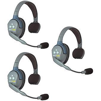 Fone de ouvido sem fio Ultralite Ultralite Eartec ul3s para 3 usuários - 3 fones de ouvido de ouvido único