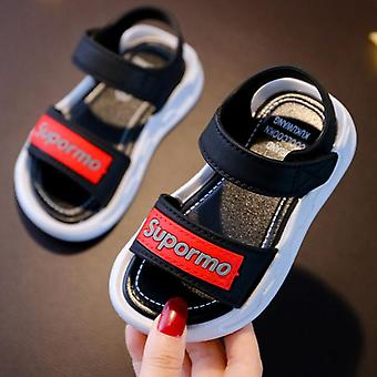 Summer Leather Solid Color Baby Sandals With Rubber Sole