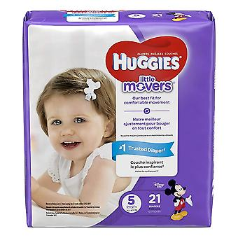 Huggies little movers diapers, size 5, 21 ea