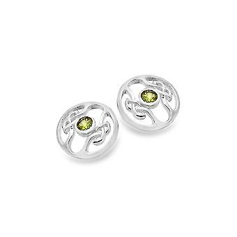 Boucles d'oreilles Sterling Silver Stud - Celtic Knots + Peridot