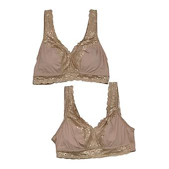 Breezies One Set of 2 Soft Support Lace Bras Beige A307831