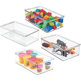 HanFei 4er-Set Spielzeugaufbewahrung & stapelbare Aufbewahrungsbox mit Deckel aus robustem