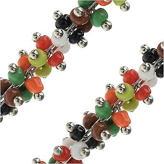 Final Sale - Zola Elements Wire Wrapped Bead Chain, Multi-Color Seed Beads 3mm, by the Foot
