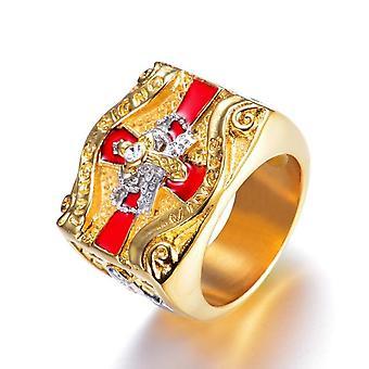 In hoc signo vinces cavaliere templare croce ad anello massono e corona